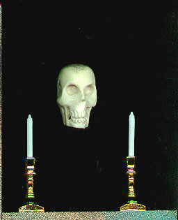 skull and candles in poe shrine